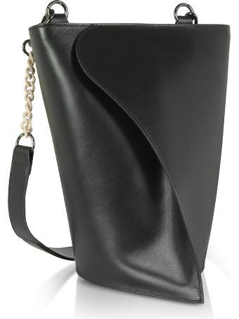 Giaquinto Black Layla Leather Shoulder Bag