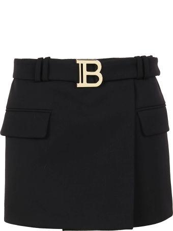 Balmain Belted Mini Skirt