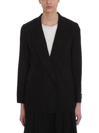 Maison Flaneur Double-breasted Black Cotton Blazer