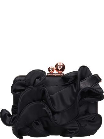 Sophia Webster Black Calf Leather Ruffle Clutch Bag