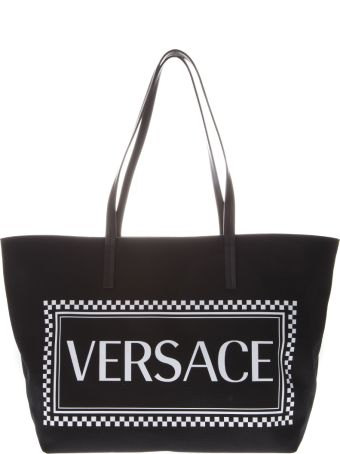 Versace White Cotton Logo Tote Bag