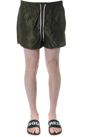 Dsquared2 Military Green Logo Print Swim Shorts In Technical Fabric