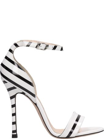 Marc Ellis Black White Patent Leather Sandals