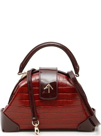 MANU Atelier Demi Croc Printed Leather And Patent Leather Bag
