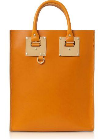 Sophie Hulme Mini Albion Toffee Shiny Saddle Leather Tote Bag