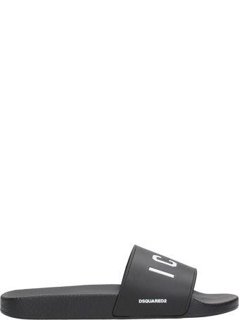 Dsquared2 Icon Black Rubber Flats Sandals