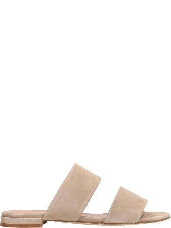 Julie Dee Beige Suede Leather Flat Sandals