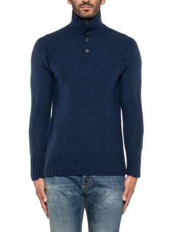 Paolo Pecora Blue Wool Boucle' Pullover