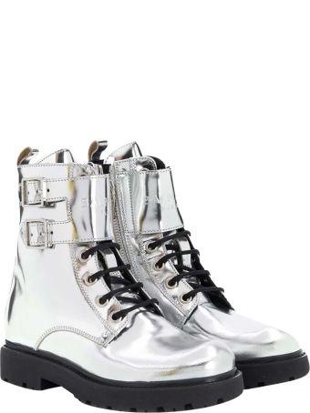 Balmain Metallic Teen Biker Boots