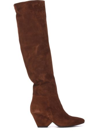 Vic Matié Leather Stove Pipe Boots With Shell-shaped Heel