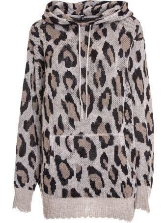 R13 Leopard Print Hooded Sweater