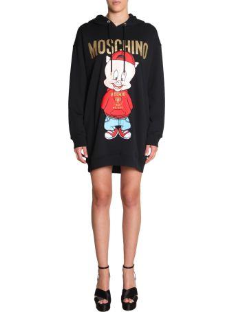 Moschino Cotton Fleece Dress With Hood
