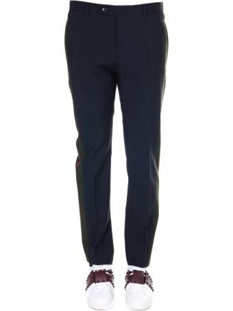 Valentino Navy And Green Wool Trousers