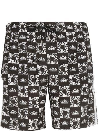 Dolce & Gabbana Logo Print Swim Shorts