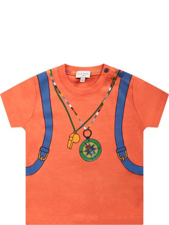 Paul Smith Junior Orange T-shirt For Baby Boy With Colorful Print