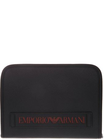 Emporio Armani Faux Leather Document Holder With Logo