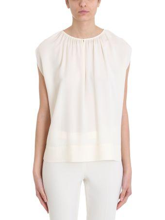 Theory Beige Silk Gathered Slit Neck Short-sleeve Top
