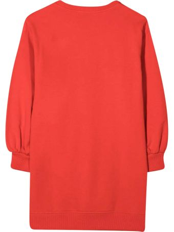 Moschino Red Dress With Frontal Toy Press