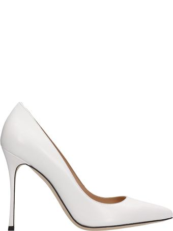 Sergio Rossi Godiva White Calf Leather Pumps