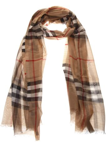 Burberry Camel Checked Cashmere Scarf