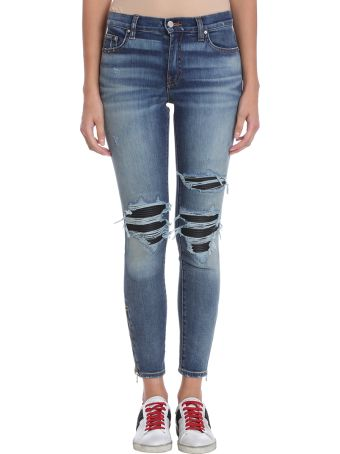 AMIRI Leather Patch Biker Blue Denim Jeans