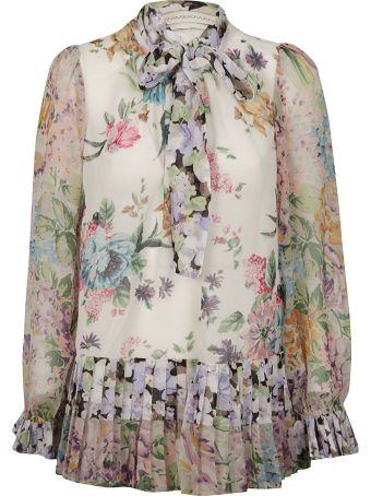 Zimmermann Floral Print Pussy Bow Blouse
