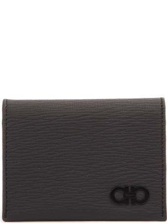Salvatore Ferragamo Dark Grey Gancini Wallet In Texture Leather
