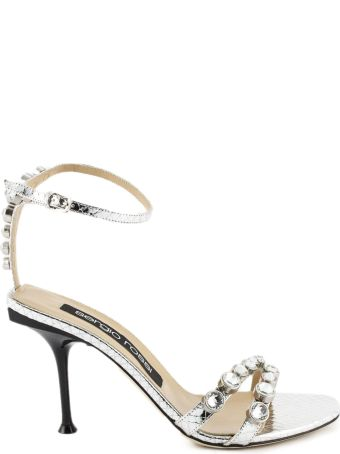 Sergio Rossi Silver-tone Mirrored Leather Sandals