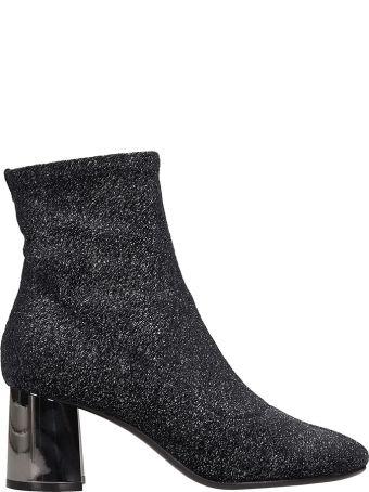 Lola Cruz Silver Glitter Fabric Ankle Boots
