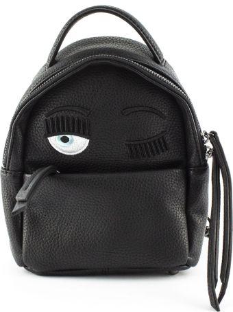 Chiara Ferragni Flirting Eye Black Faux Leather Backpack