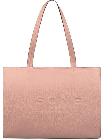 Visone Pink Small Amanda Hammered Leather Tote