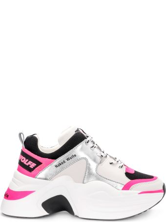 Naked Wolfe Track Fuchsia Leather And Fabric Sneaker