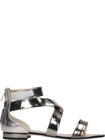 The Seller Silver Laminated Leather Flats Sandals
