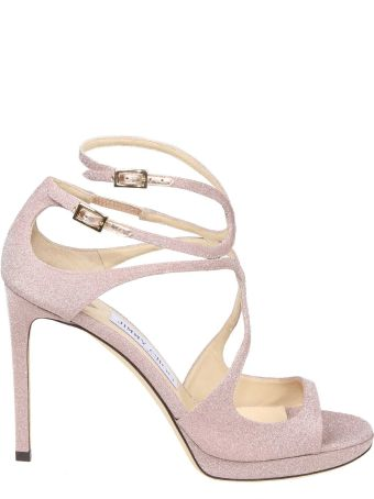 Jimmy Choo Sandalo Lace 100 In Glittered Fabric Color Pink
