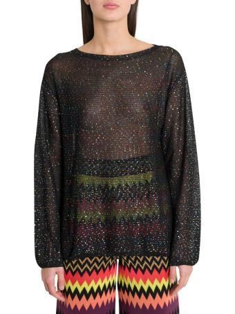 M Missoni Sheer Maxi Blouse With Mutlicoloured Sequins