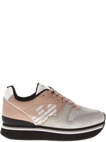 Emporio Armani Nude Polyester & Suede Thick Sneakers