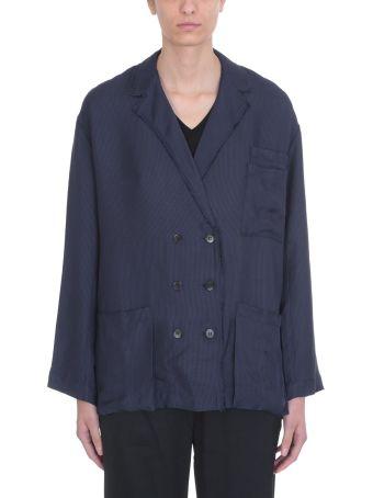 Acne Studios Blue Navy Cotton Sumi Fluid Suit Jacket