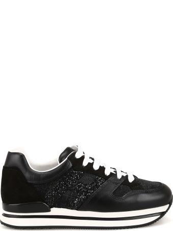 Hogan H222 Leather And Glitter Fabric Sneakers Hxw2220u352kgab999