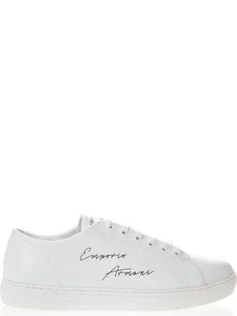 c725df7e5b Emporio Armani White Leather Sneakers With Emporio Armani Written