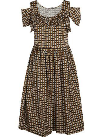 Dice Kayek Check Ruffled Flared Dress