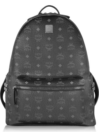 MCM Black Stark Medium Backpack