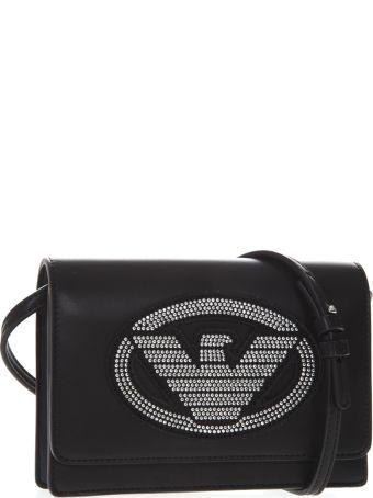 Emporio Armani Embellished Logoed Black Faux Leather Shoulder Bag