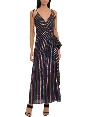ATTICO Long Slip Dreswith Lurex Stripes