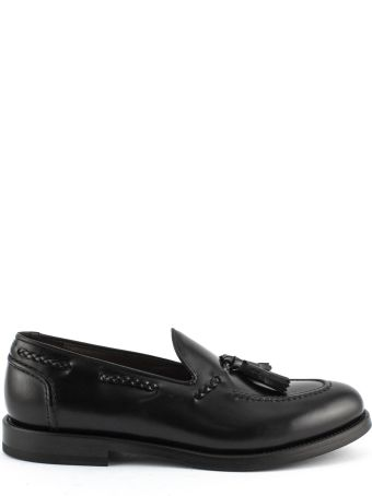 Green George Black Leather Loafer.