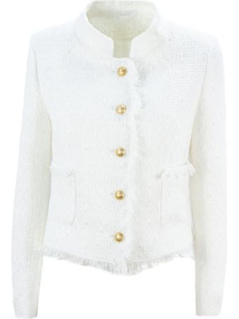 Tagliatore White Cotton Nikole Tweed Jacket