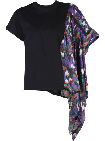 Sacai Floral Print Cotton T-shirt