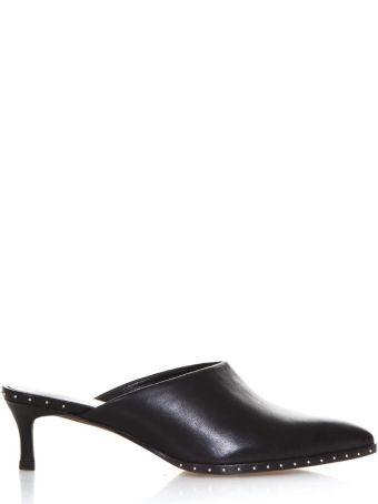 Lola Cruz Black Leather Studded Mules