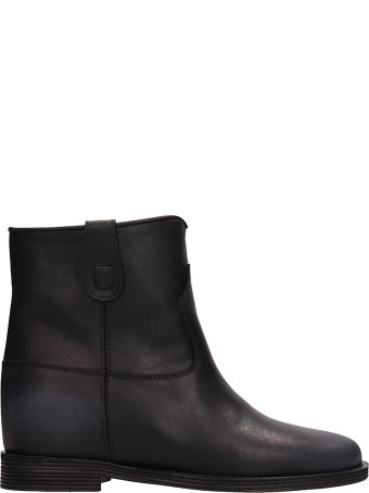 Via Roma 15 Black Calf Leather Ankle Boots