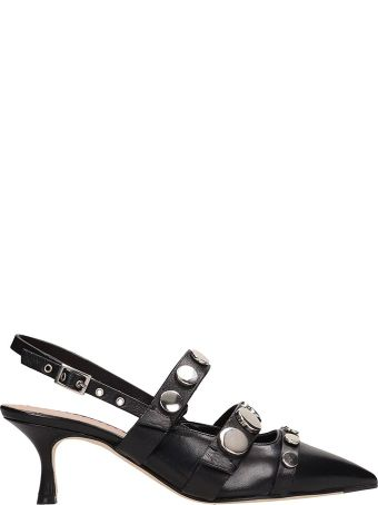 Julie Dee Black Leather Pumps