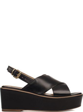 Fabio Rusconi Black Leather Wedge Sandal